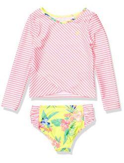 Girls Rashguard Swim Suit Set With Upf 50+ Sun Protection