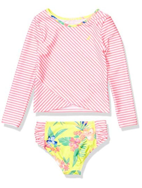 Nautica Girls Rashguard Swim Suit Set with UPF 50+ Sun Protection