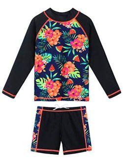 Girls Rash Guard Long Sleeve Swimsuit Two Piece UPF 50+ Sun Protective Beach Swimwear