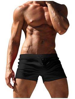 Men's Swimwear Swimsuits Solid Basic Swim Boxer Trunks Board Shorts With Zipper Pockets