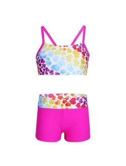 inlzdz Kids Girls Two Piece Sports Tankini Heart-Shaped/Polka Dots Printed Tops with Bottoms Dancewear Swimwear