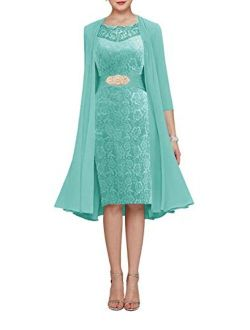 Chiffon Lace Mother of The Bride Dress with Jacket Women A-line Short Evening Gown