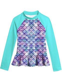 RAISEVERN Girls Swim Shirts Long Sleeve Rash Guard Swimsuits Sun Shirt Swimming Tee 3-10T