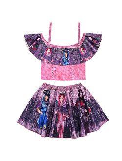 Heariao Descendants 3 Princess Cartoon 2 Pieces Bikini Set Ruffle Bathing Suit for Girls Beach Sport Swimsuits Swimwear