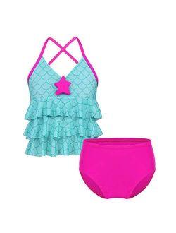 iEFiEL Big Girls Youth Two Piece Mermaid Printed Tankini Swimsuit Bathing Suit Top Swim Briefs