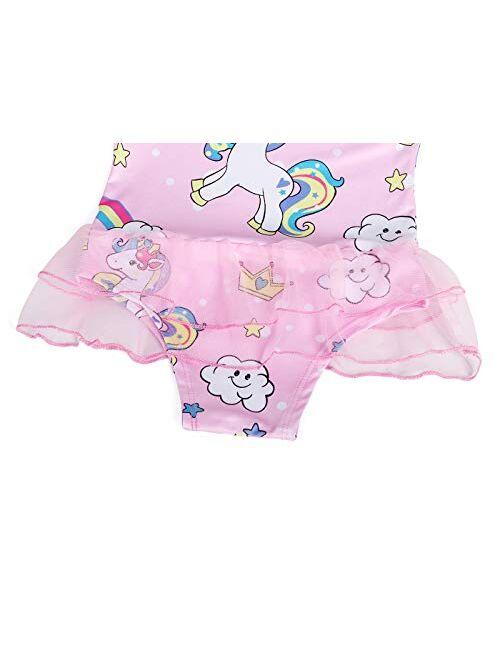Cotrio Girls Unicorn One Piece Swimsuit Rainbow Bathing Suits Kids Swimwear Toddlers Tankini