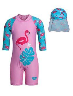 Jurebecia Unicorn Girls Swimsuit Kids One Piece/Two Pieces Round-Neck Swimwear Rash Guard Bathing Suit 2-8Years