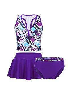Agoky Little Big Girls' Two Pieces Tankini Swimsuit Top with Shorts Set Summer Bikini Beachwear