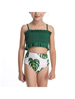 CM C&M WODRO Toddler Kids Girls Two Piece Frill Swimsuit Ruffle Bikini Set Swimwear Beach Sport Halter Top Diving Surfing Clothes