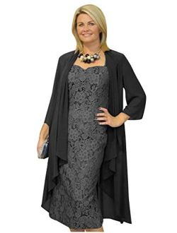 Lace Chiffon Mother of The Bride Dresses Tea Length with Jacket Sleeves Formal Gown for Women