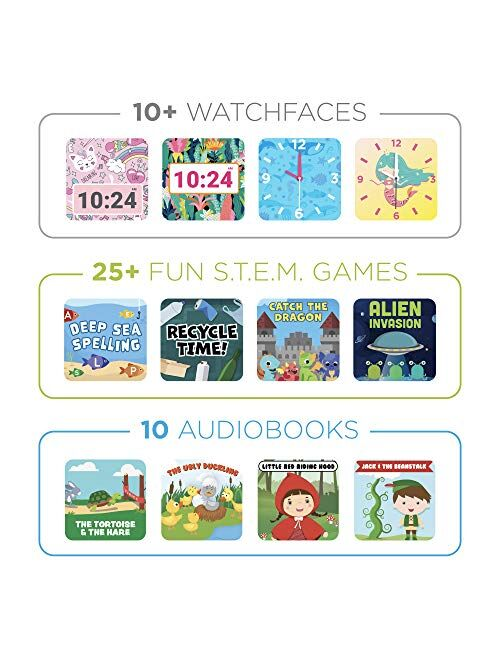 PlayZoom Hello Kitty 2 Kids Smartwatch - Video Camera Selfies STEM Learning Educational Fun Games, MP3 Music Player Audio Books Touch Screen Sports Digital Watch Gift for