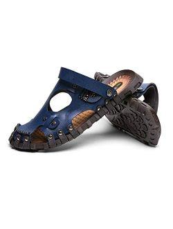 XLEVE Summer Men Sandals Genuine Leather Mens Beach Sandals Men's Casual Shoes Soft Rubber Comfortable Slip-on Outdoor Footwear (Size : 9.5code)