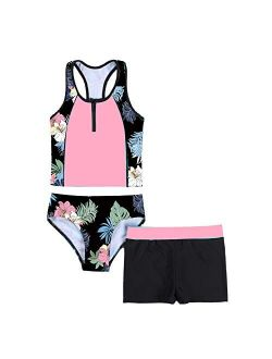 Haitryli Kids Girls 3 Pieces Swimsuit Sleeveless Floral Printed Tops with Shorts Bottoms Set Tankini Bathing Suit