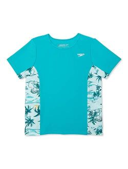 Girl's Uv Swim Shirt Short Sleeve Printed Rashguard