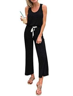 Women's Casual Solid Sleeveless Jumpsuit Crewneck Drawstring Waist Stretchy Long Pants Romper With Pockets