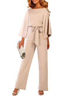 QUEENIE VISCONTI Women Summer Wide Leg Jumpsuit - Casual Long Pants Rompers Vacation Dressy Playsuit