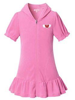 QPANCY Girls Hooded Zip Terry Coverups Swim Beach Cover-Up Cotton Summer Short Sleeve