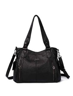 Purses and Handbags for Women Large Hobo Shoulder Bags Soft PU Leather Multi-Pocket Tote Bag