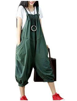 Flygo Women's Baggy Cotton Denim Wide Leg Drop Crotch Overalls Jumpsuit Romper Harem Pants