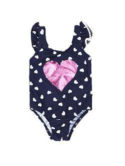 7-Mi Kids Girl Swim Jumpsuit Red Grid/Navy Sailor One-Piece Swimwear Bowknot Navy Blue 1-5Yrs