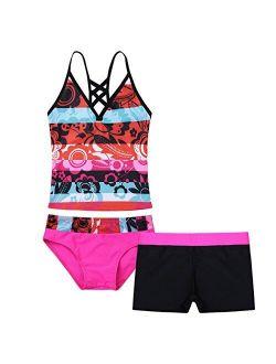 ACSUSS Kids Girls 3 Pieces Tankini Bikini Set Swimsuit Floral Print Crop Tops with Shorts Swimwear Bathing Suit