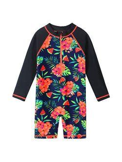 Girls Rashguard Swimsuits One Piece Long Sleeve UPF50+ Sun Protective Bathing Suit Flower Zipper Swimwear