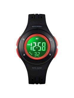YxiYxi Kids Watch Digital Waterproof for Girls Boys Toddler Cute Sport Outdoor Multifunctional Watches with Luminous Alarm Stopwatch 7 Colorful LED Wrist Watch for 5-10 Y