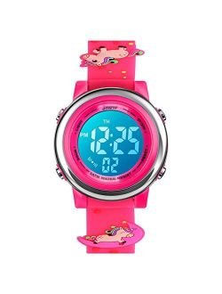 YxiYxi Kids Unicorn Watches 3D Cute Cartoon Digital 7 Color Lights Toddler Wrist Watch with Waterproof Sports Outdoor LED Alarm Stopwatch Silicone Band Boys Girls