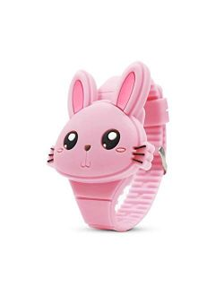 Kids Watch,Girls Watch Digital Cute Shape LED Fashion Silicone Band Clamshell Design Wrist Watch Girl Gifts