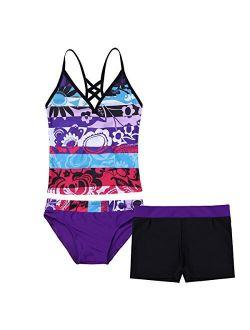 YiZYiF Big Girl's Youth Tie-Dye Swimwear Tankini Halter 2 Pieces Bathing Suit