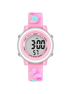 Jianxiang Kids Unicorn Digital Sport Watches for Girls Boys, Waterproof Outdoor LED Timer with 7 Colors Backlight 3D Cartoon Silicone Band Child Wristwatch
