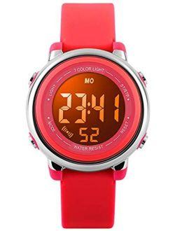 Kids Watch Multi Function 7 Color Lights Toddler Wrist Digital Sport Waterproof Watch, Alarm Stopwatch for boy Girl Child Watch