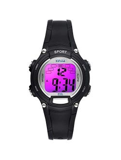 Kids Digital Watches for Girls Boys,7 Colors LED Flashing Waterproof Wrist Watches for Boys Girls Child Sport Outdoor Multifunctional Wrist Watches with Stopwatch/Alarm f