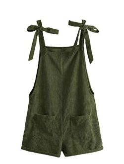 Women's Corduroy Tie Knot Strap Overall Shorts Pocket Jumpsuit