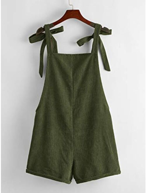 Romwe Women's Corduroy Tie Knot Strap Overall Shorts Pocket Jumpsuit