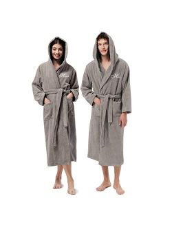 AW BRIDAL Terry Cloth Robe Hooded Bathrobes Turkish Cotton Towel Robe Lightweight with Embroidery for Men Women