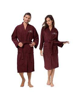 AW BRIDAL Couple's Terry Cotton Kimono Robe Spa Bathrobe Set - Unisex Hotel Robe with Elegant Script Embroidery
