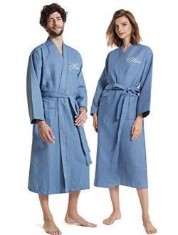 AW BRIDAL Cotton Waffle Robes His Hers & Mr Mrs Robe Spa Hotel Kimono Bathrobe for Couples Set, 2PCS