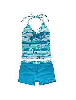 FEESHOW Kids Big Girls Two Piece Halter Tankini Swimsuit Summer Beach Bathing Suit Tank Top with Boyshorts Set