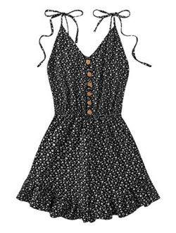 Women's Tie Shoulder V Neck Floral Print Elastic Waist Cami Romper