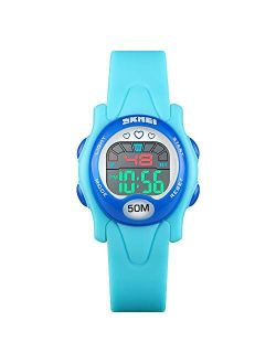 CakCity Kids Watch Digital Waterproof for Girls Boys Cute LED Watches with Luminous Alarm Stopwatch Wrist Watch for 3-10 Year Little Child