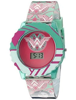 Comics Wonder Woman Girl's Digital Casual Watch With Flashing Led Lights, Color: Teal (model: Wom4014)