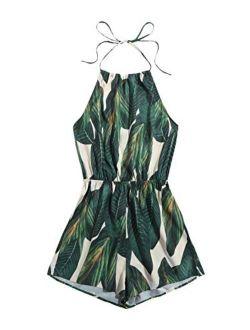 Women's Sleeveless Floral Print Halter Neck Backless Short Romper Jumpsuit