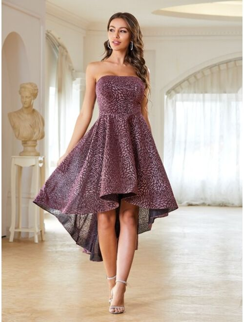 Shein Glitter High Low Hem Tube Prom Dress
