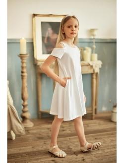 Arshiner Girls Summer Dress Short Sleeve Cold Shoulder Solid Color Swing Casual Dresses with Pockets