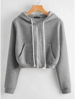 Kangaroo Pocket Zip Up Drawstring Hoodie