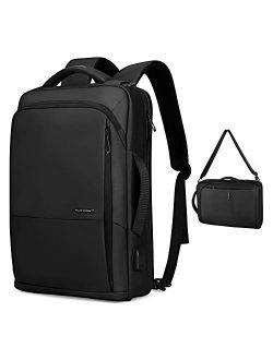 Business Backpack,MARK RYDEN 3in1 backpack Slim Laptop Backpack For Work School Travel Flight Fits 15.6 Laptop with USB Port,Waterproof Casual Daypack,Black