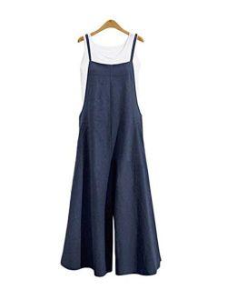Beaurex Women's Casual loose Overalls Baggy Cotton Jumpsuits Romper Wide Leg Pants Adjustable stripes TR1010