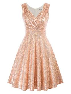 Women's Sleeveless A-line Sequin Cocktail Party Swing Dress