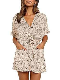 Ivay Womens V Neck Button Rompers Knot Tie Short Sleeve Sexy Loose Playsuit Jumpsuit with Pockets